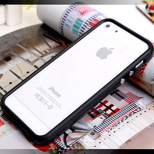 TPU Rubber Bumper Frame Cover with Metal Button For iPhone 4 4S 5 5G 5S Without Retail Package Box(China (Mainland))