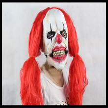 Scary Joker Clown Mask with Red Hair Halloween Party Funny Halloween Mask