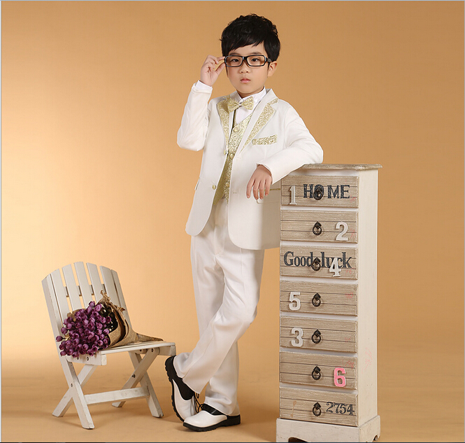 6/pcs children clothing sets pure color boys blazers wedding tuxedo suits Student performance clothes free shopping - Cute Kids World store