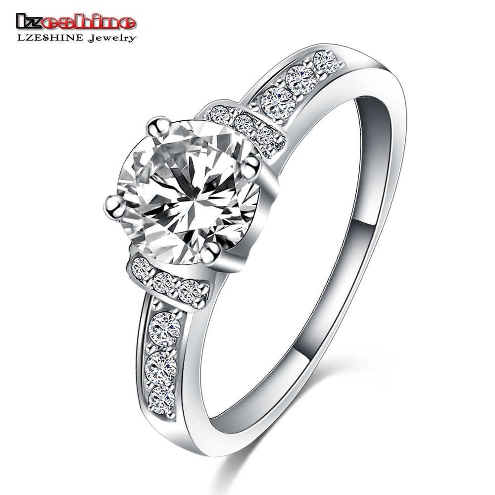 LZESHINE Engagement Wedding Finger Rings CZ Diamond Platinum Plate Fashion Rhinestone Jewelry for Women anel Wholesale CRI0107-B(China (Mainland))