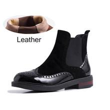 Phụ nữ Mùa Đông Tuyết Giày Chelsea Boot Da Thật Chính Hãng da Mắt Cá Chân ngắn gót mũi tròn nữ retro chống nước mùa đông Giày 2019 Giày(China)