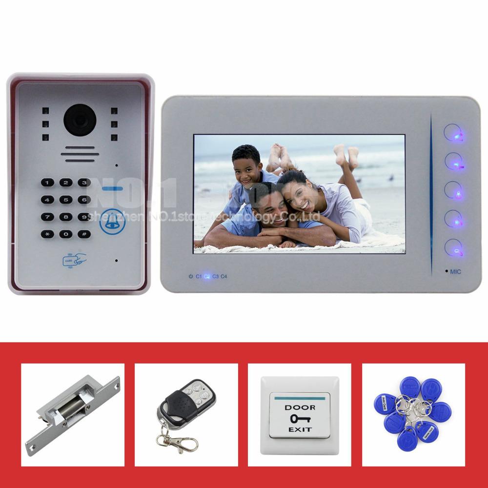 7 inch Video Door Phone DoorBell Intercom System 125KHz RFID Password Camera Keypad + Remote Control + Strike Lock White(China (Mainland))