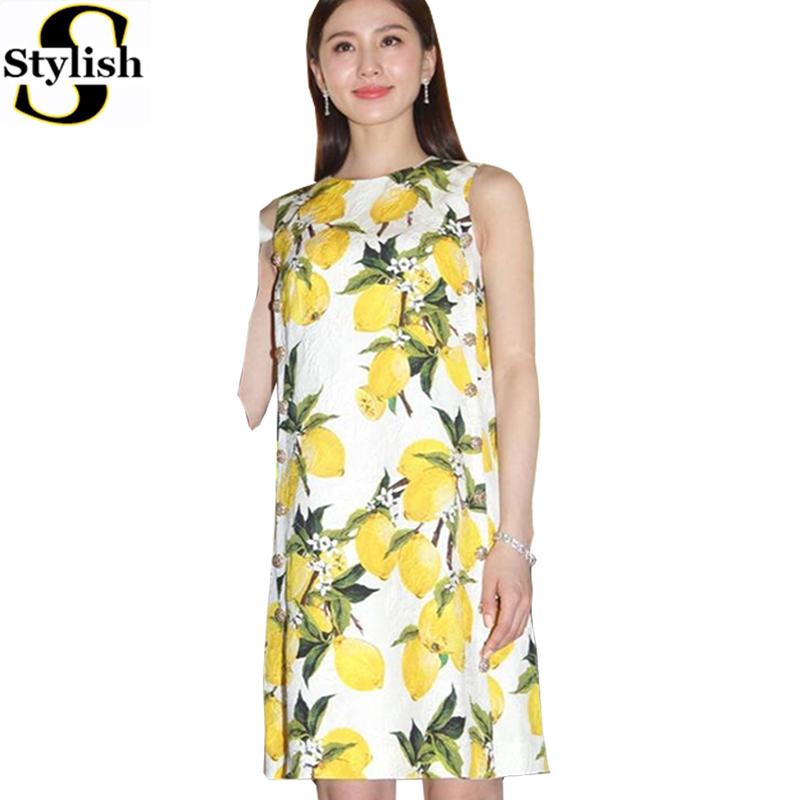 Women Dress Summer 2016 Chiffon Lemon Print Sexy Sleeveless Tank Dresses Short New Fashion Elegant O-neck Office Ladies Clothing(China (Mainland))