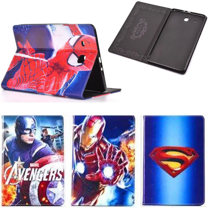 """Cartoon Spiderman Superheroes for 9.6"""" Samsung Galaxy Tab E T560 T561 tablet PC protective stand holder silicon back cover case(China (Mainland))"""
