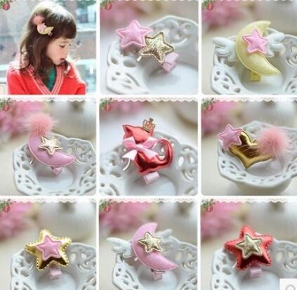 5pcs/lot Cute baby girl hairpins headwear fashion star moon heart shape infants toddler hair clips accessories(China (Mainland))