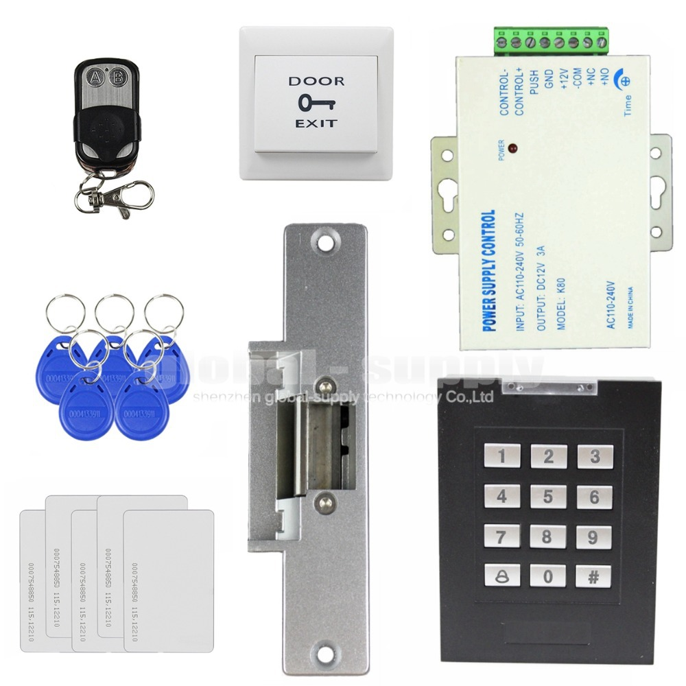 125KHz RFID Keypad Access Controller Door Lock Security System Kit + Remote Control + Electric Strike Lock(China (Mainland))