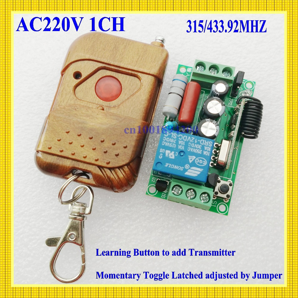 220V 1CH RF Wireless Remote Switch Receiver&Transmitter Light Lamp LED SMD ON OFF Switch10A Relay Momenrary Toggle 315/433.92(China (Mainland))