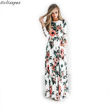 Buy Helisopus Women Long Sleeve Boho Dress 2017 Summer Loose Long Stretchy Dress Floral Printed Long Maxi Dress Pocket O Neck for $13.18 in AliExpress store