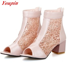 Fashion Mesh 2016 summer fish mouth 4 colors large size Casual sandals Party Woman everyday wild section cool breathable shoe