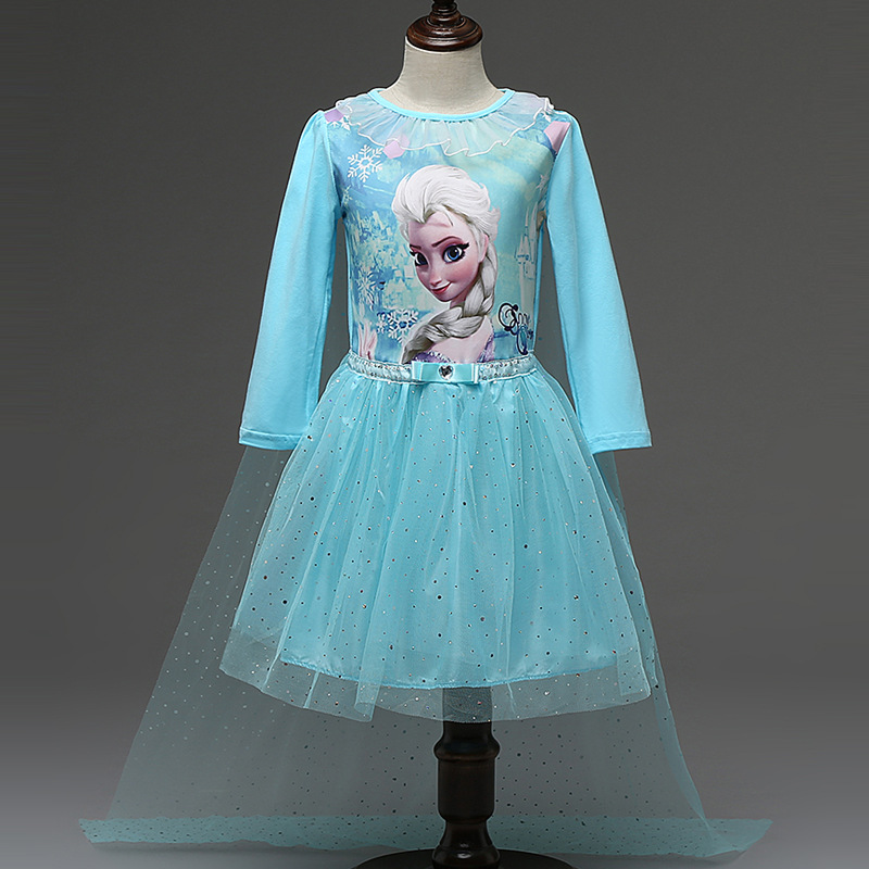 New Anna Elsa Dress Kids Princess Party Costume Cosplay Snow Queen Fantasy Long Sleeve Baby Girls Dresses Cape Vestido infantil<br><br>Aliexpress