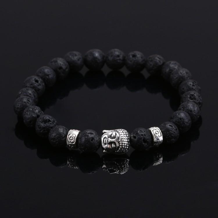 Гаджет  2016 Natural Stone bead Buddha Bracelets For Women and Men,Silver Buddha, Turquoise,Black Lava bracelet,pulseras mujer None Ювелирные изделия и часы