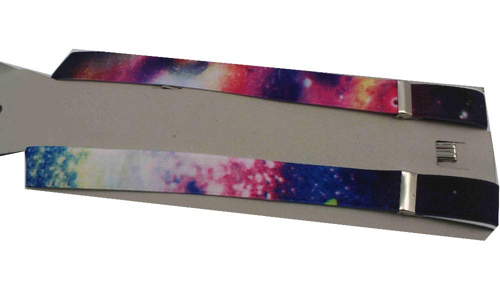 Регулируемый дамы Разноцветный Galaxy печать скобки и подтяжк прорезиненная тесьма Galaxy женщин мужские