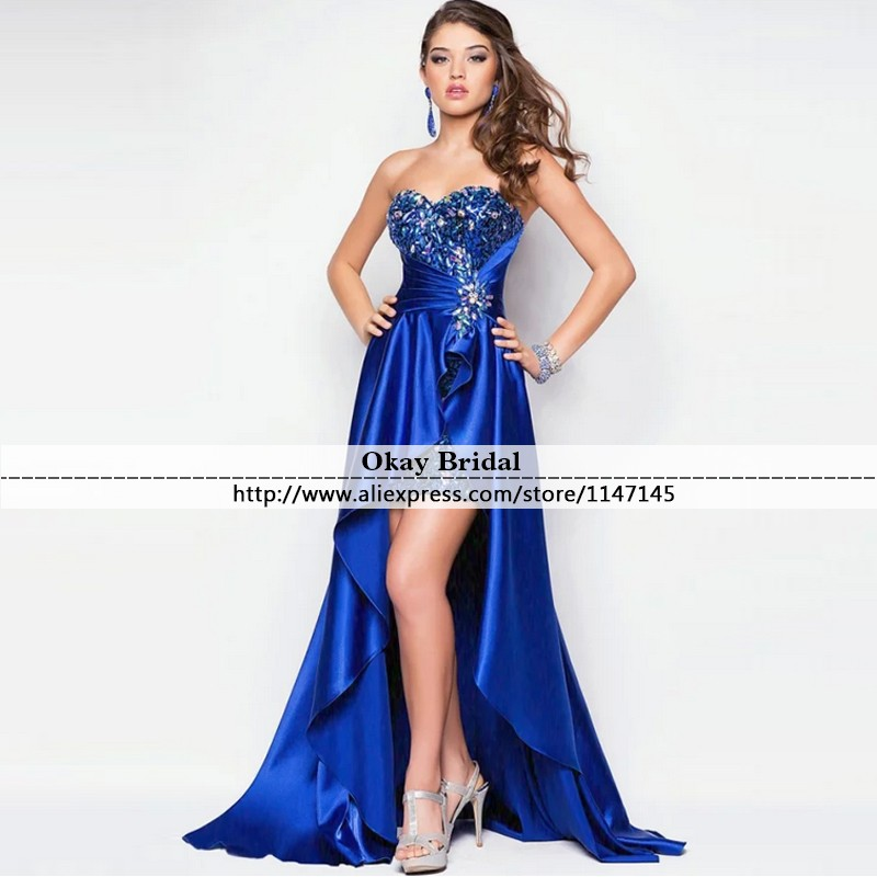 High Low Prom Dresses Fast Shipping Sweetheart Royal Blue Evening Party Gowns for Graduation 2016 New vestidos de formatura(China (Mainland))