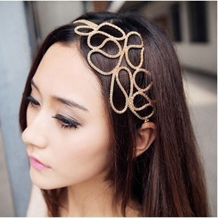 Promotion! Wholesale!  Fashion lady women jewelry accessory hollow out knitted  gold headband female SHR058
