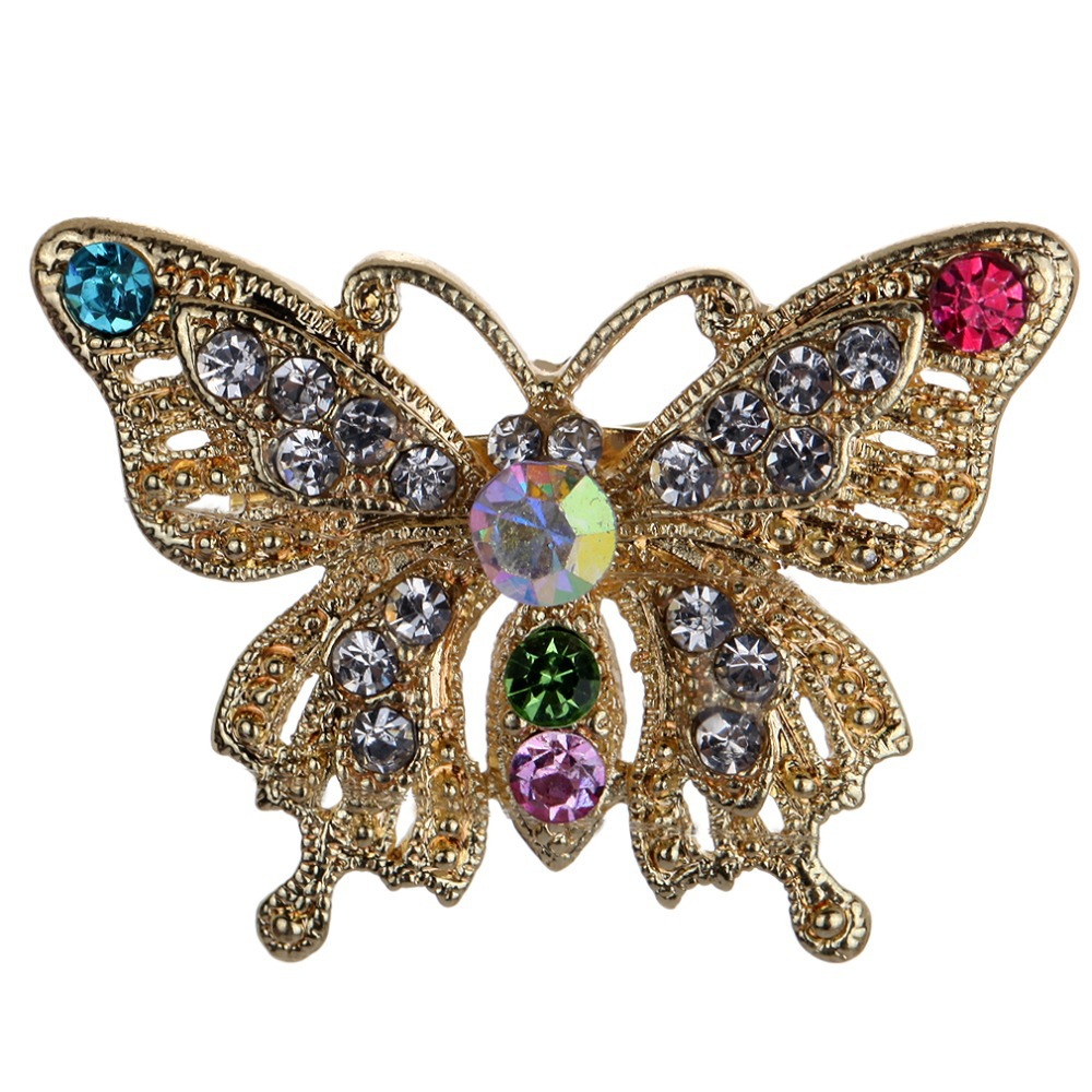 Moda charme jóias cristal voando borboleta strass broches Vintage para mulheres(China (Mainland))