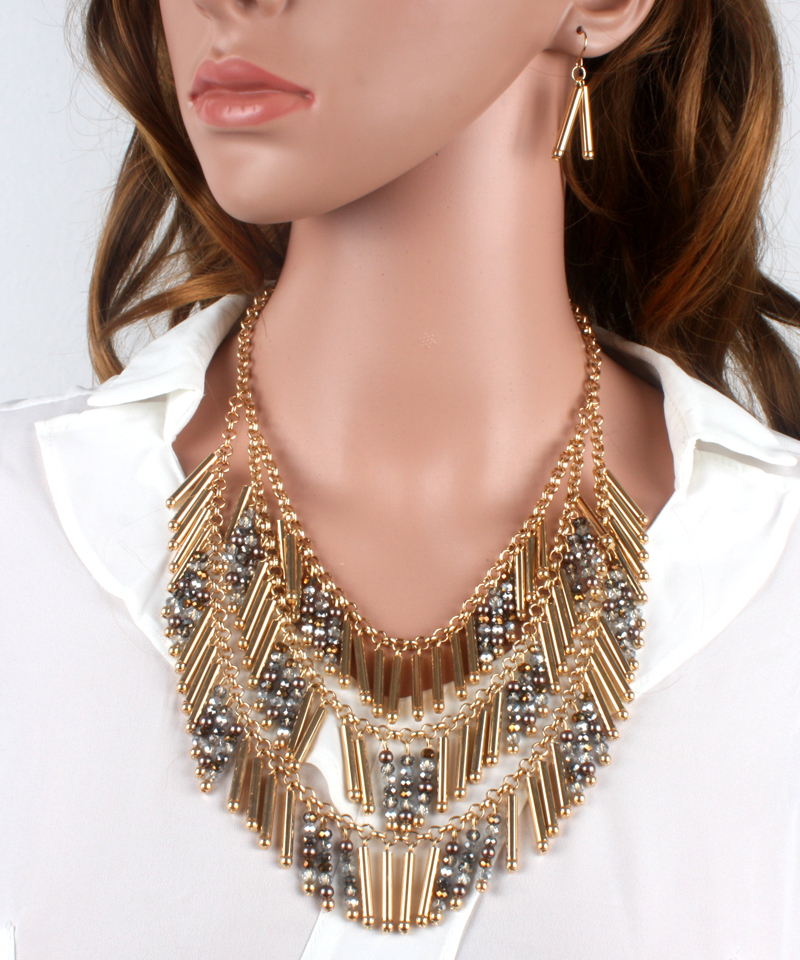 wholesale tassel necklace  crystal chain necklace gold pendant multi layer necklace women statement bib necklace collares w1640<br><br>Aliexpress