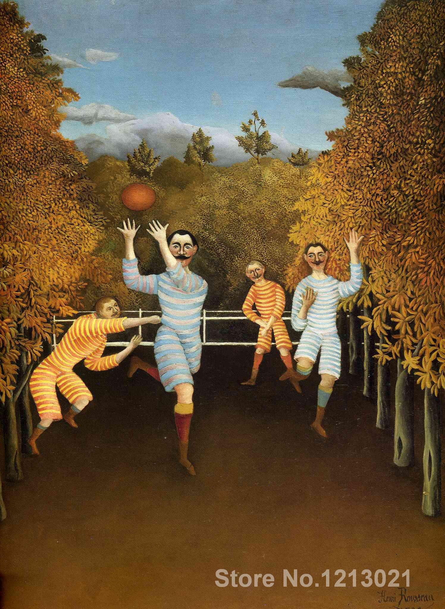 Landscape paintings,The Football Players,Henri Rousseau,Modern art,High quality,Hand-painted(China (Mainland))