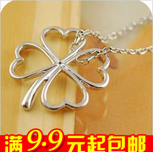 E4009 queer accessories sweet ol elegant short design four leaf clover chain necklace female(China (Mainland))