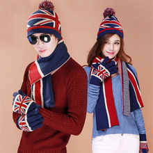 Christmas Gift USA UK Flag Design Knit Hat Scarf Gloves Sets Women Men Thick Wool Lining Winter 3 pcs  Warm Set(China (Mainland))