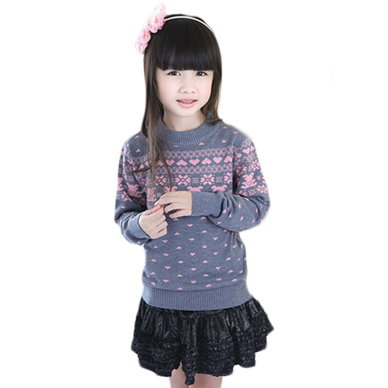 Гаджет  All-match Print Kids Wool Sweaters Preppy Style Girls Turtleneck 6-16T Autumn Winter Trui Meisjes O-Neck Children Pollovers E263 None Детские товары