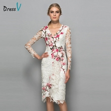 Dressv V-neck long sleeves cocktail dress sheath appliques lace knee length flowers elegant cocktail dress formal party dress(China (Mainland))