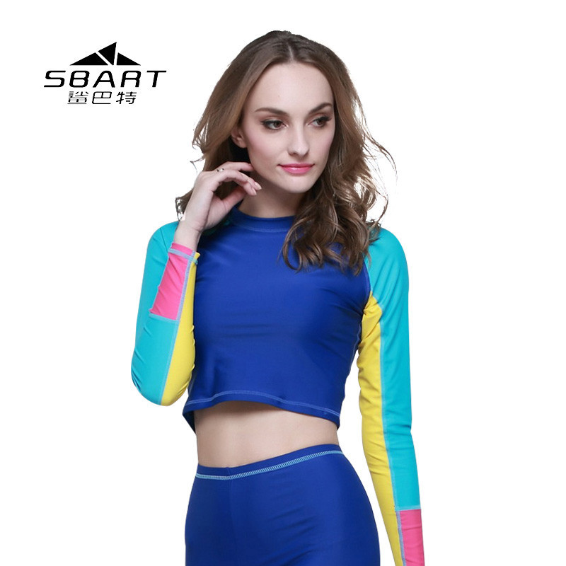 Crop Tops Long Sleeve Fashion Swimming Swimsuit Uv Wetsuit Swim Shirt Diving Surfing Rash Guards