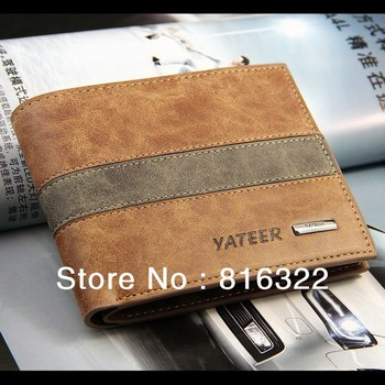Free Shipping PU Leather Men Wallet Purse Black Brown Wallets