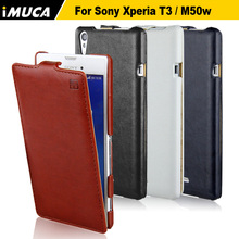 IMUCA Case For Sony Xperia T3 M50w luxury Flip Leather Cover For Xperia T3 M50w D5103 cell phone cases accessories(China (Mainland))