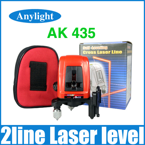 ak435 laser level 2 lines 1 point 360 degree rotary Horizontal and Vertical cross laser levels with wall bracket WAL20(China (Mainland))