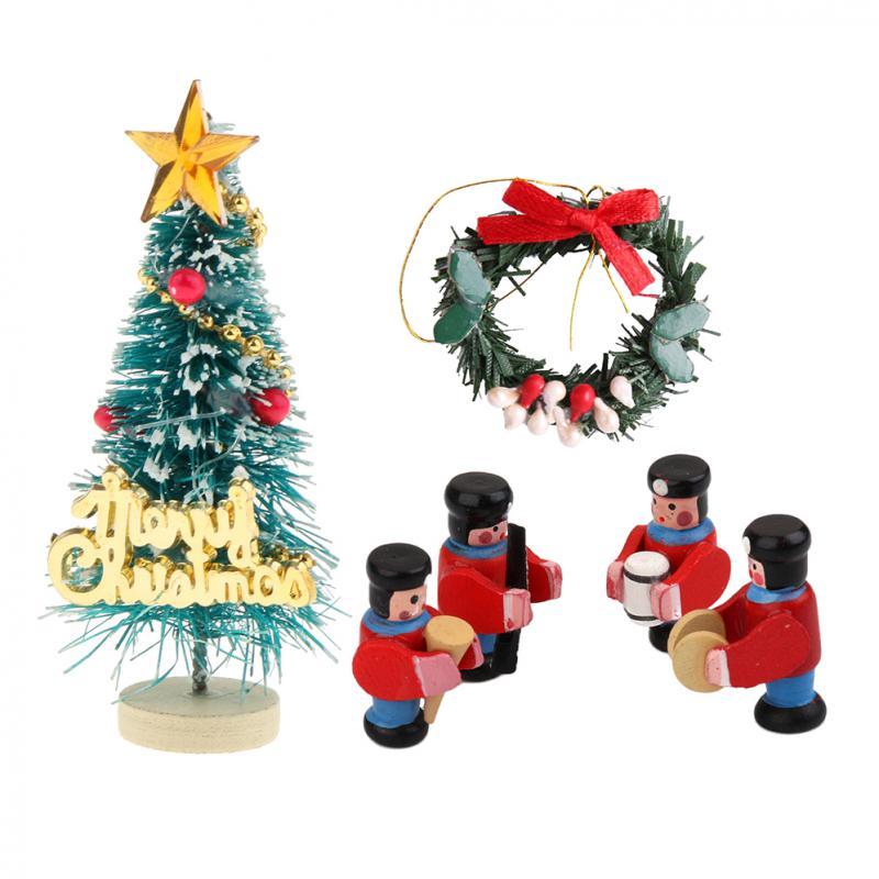 Christmas Tree Garland Santa Claus Gift Box Set for 1:12 Dollhouse Miniature