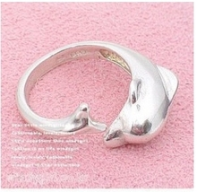 G202 Free Shipping Wholesale Hot New 2014 Fashion Silver Dolphin Opening Ring Jewelry Accessories
