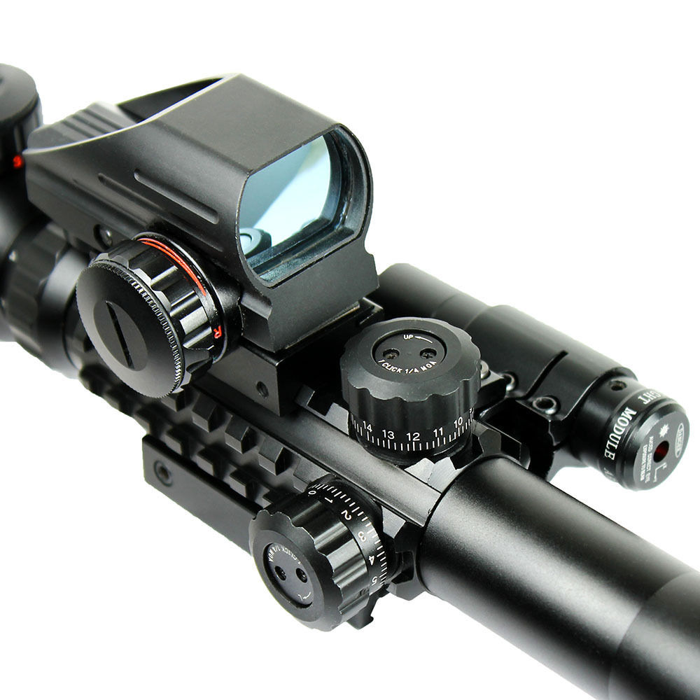 Hunting Optics Rifle 3-9X40 Illuminated Red/Green Laser Riflescope With Holographic Dot Sight Airsoft Weapon Sight <br><br>Aliexpress