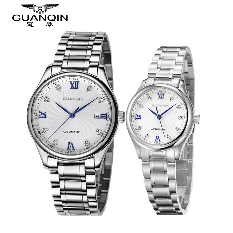 Origianl GUANQIN Top Brand Luxury New Fashion Automatic Mechanical Lovers Watches Waterproof Luminous Men Women Watch
