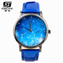 2016 New Fashion Watch Women Star and Sky Pattern Rhinestone Casual Quartz Watch Ladies Popular Leather Strap Elegant Wristwatch(China (Mainland))