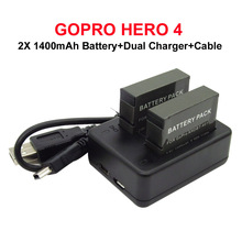 Dual Charger+2X 1400mAh AHDBT 401 AHDBT-401 Rechargeable Batteries gopro accessories Battery Pack for Gopro Hero 4