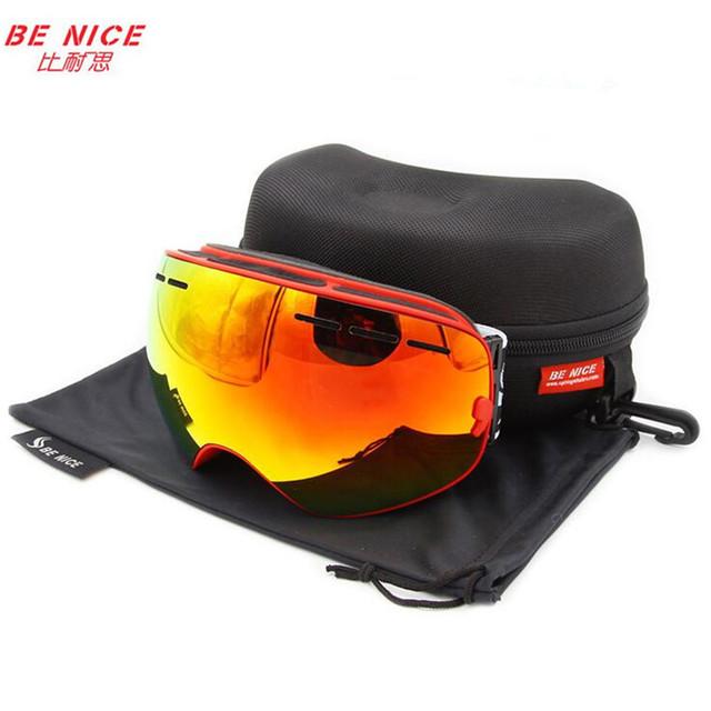 Benice марка сноуборд очки двойной анти-туман UV400 большой мотокросс маска очки с оригинальной коробке esqui открытый горные лыжи очки
