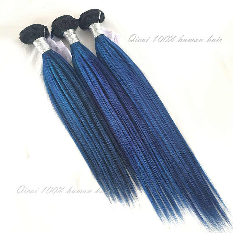 Brazilian Ombre Hair Extensions 7A Grade Unprocessed 2 Tone 1B/Blue Ombre Brazilian Virgin Hair Straight 3 Bundles Hair Weft