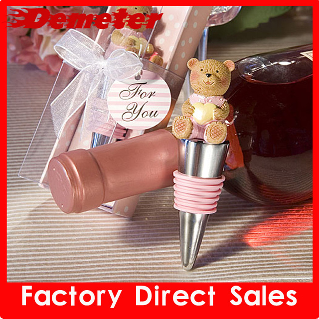 Retail and Wholesale Wine Accessories Deluxe Gift Lovely Bear Shape Metal Wine Stopper Gift box 5pcs/lot love 85g Free Shipping