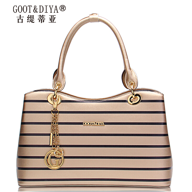 Famous Brands top quality leather women bag 2015 summer new fashion hit color striped handbag  Small square package<br><br>Aliexpress
