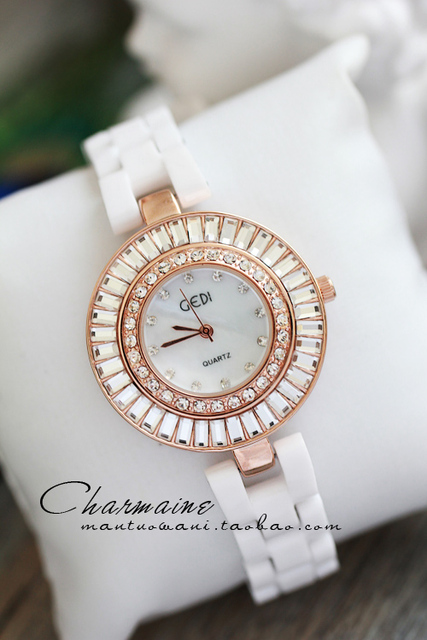 Rudder quality luxury sparkling diamond crystal shell dial white ceramic watch