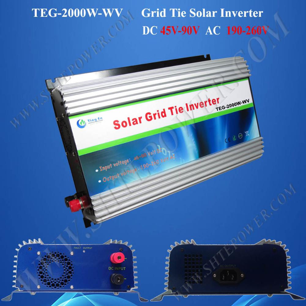 Grid Tie Solar Inverter 2kw DC 45-90V to AC 110V 220V 230V(China (Mainland))
