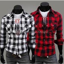 Ebay 100% cotton large plaid casual plus size men's clothing male slim long-sleeve  Large lattice Shirts(China (Mainland))