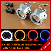 Buy Car Styling Automobiles WST CCFL Angel Eyes Halo HID Bi xenon Lens Projector Headlight Retrofit H1 H4 H7 Headlamp Lenses LHD RHD for $53.99 in AliExpress store