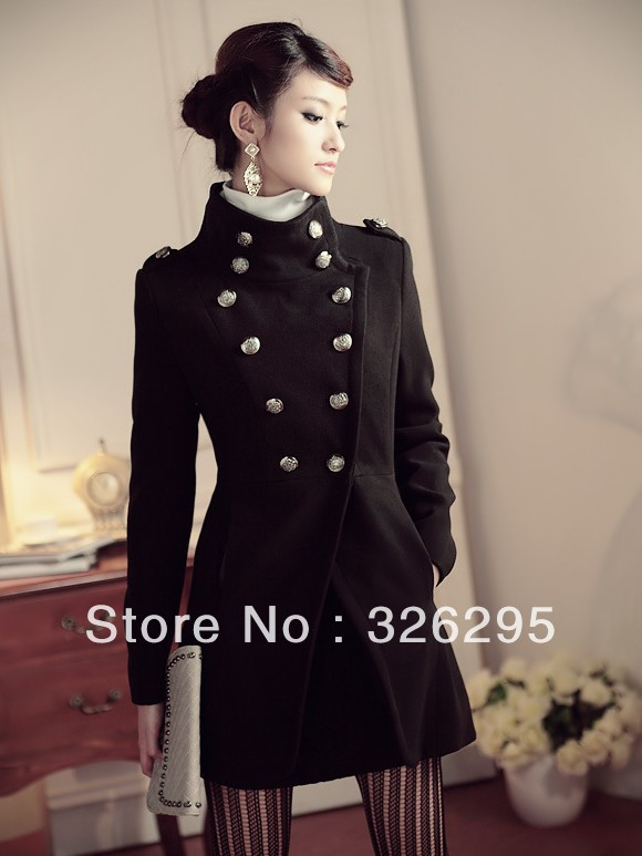 2013 Autumn Navy Sailor Style Women Slim Trench Coat Fashion Women's Turtleneck Long Pea Coats Winter Outerwear Overcoats(China (Mainland))