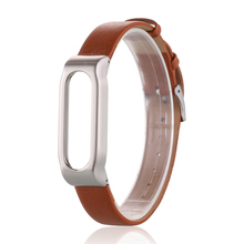 2016 New Adjustable Metal Frame PU Leather Wristband Strap for Xiaomi Mi Band 1A and 1S pulse Version Smart Bracelet Accessories