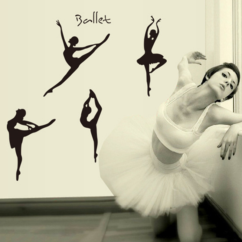 1PCS Girls Dancing Ballet DIY Vinyl Wall Stickers Removable PVC Home Art Decor For Ballet Studio Dance Studio Girls Room Sofa(China (Mainland))
