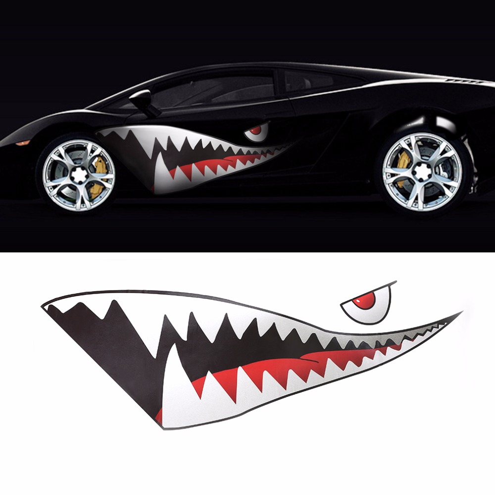 New and Funny 1pcs 59 inch Good Quality Auto 3D Shark Style Sport Styling Car Body Sticker Waist Line Car styling Hot!(China (Mainland))
