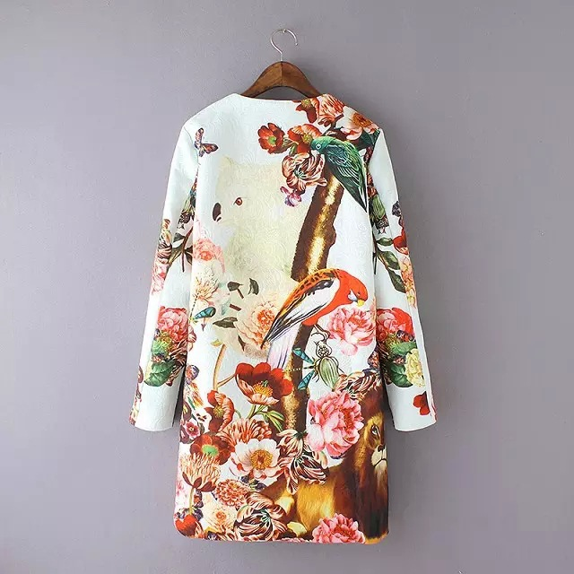 2015 autumn and winter European big brand fashion trench coat for women round collar floral printed outerwear desigual coat(China (Mainland))