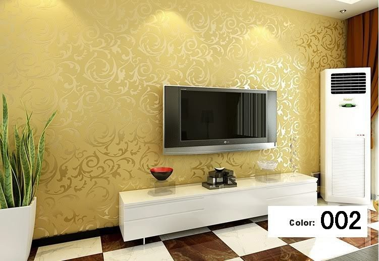 Modern 3d background vinyl wallpaper for living room gold for Wallpaper for living room modern