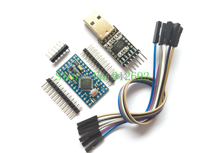 Free Shipping 1PCS 6pin CP2102 Module + 1PCS Pro Mini Module Atmega328 5V 16M For Arduino Compatible With Nano(China (Mainland))
